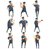American Policeman Funny Characters Set Stock Images