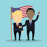 American politians together. Russia October. 10, 2016. American politians together. Two men in suits standing against national flag. Shaking hands in agreement royalty free illustration