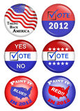American Political Campaign Buttons. 2012 politicalcampaign buttons using the American colors of red, white, and blue Stock Photography
