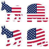 American political symbols. Vector symbols for the Republican and democratic political parties Royalty Free Stock Image