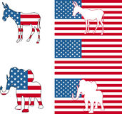 American political symbols. The democrat and republican symbols of a donkey and elephant and American flag royalty free illustration