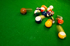 American pool balls. On green snooker table Stock Photography