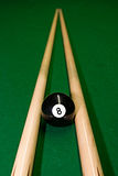 American pool balls. On green snooker table Royalty Free Stock Images