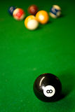 American pool balls. On green snooker table Stock Image