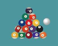 American pool billiard balls. Top view vector illustration. Stock Photo