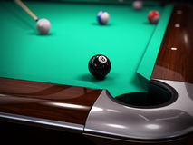 American Pool, Snooker billiard game - strike on the black eighth ball Stock Photography