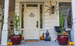 American porch with Halloween decoration in Nevada City Stock Photos