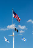 American and POW flag on White Mast Royalty Free Stock Photos