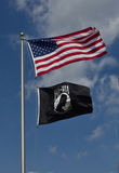 American and POW Flags. American flag above the POW-MIA flag royalty free stock image