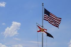 American,POW and Florida flag. royalty free stock photos