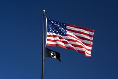 American and POW MIA Flags royalty free stock photo