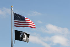 American and pow mia flags. (prisoners of war, missing in action), you are not forgotten stock image