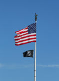 American and POW/ MIA flags in Brooklyn stock photo