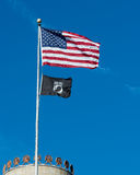 American and POW/MIA flags. American flag over POW/MIA flag above the North Carolina State Capitol building in Raleigh, North Carolina royalty free stock photography