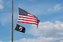 American and POW/MIA Flags Stock Image