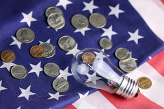 American power programm lamp coin money. Concept of different directions as the starting point for the implementation of ideas Stock Photo