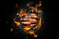 American Prayer. Religious American is Praying with Crossed hands and USA flag painted on fingers Royalty Free Stock Photography