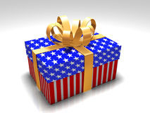 American present. Box of american flag color on white background Royalty Free Stock Photo