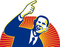 American President Barack Obama pointing forward stock illustration
