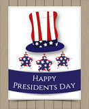 American President Day Card Design. With Hat colored as Flag and Stars on Wooden Background. Vector Illustration for Celebration Holiday Design. Template for Stock Photo