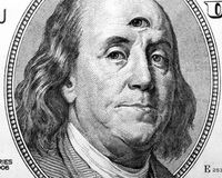 American President with third eye. This photograph represent Benjamin Franklin portrait with open third eye vector illustration