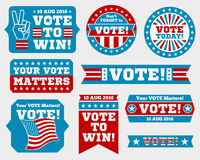 American presidential election 2016 badges and vote labels. Badges and signs for presidential election. Symbols of USA president election. Vector illustration Royalty Free Stock Photo