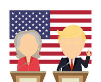 American presidential election. Two politicians standing against the usa flag. 2016 election campaign. Woman politician in red suit. Standing at tribune Royalty Free Stock Photo