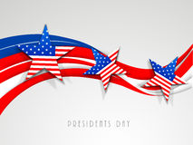American Presidents Day celebration concept. Happy Presidents Day celebration with United State of American flag color waves and stars on shiny grey background Vector Illustration