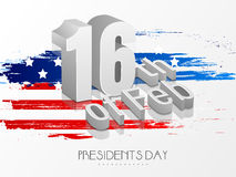 American Presidents Day celebration with 3D text. Glossy 3D text 16th Of Feb on American Flag colors background for Presidents Day celebration vector illustration