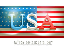 American Presidents Day celebration with 3D text. 3D text United State American on national flag for Presidents Day celebration on white background Royalty Free Illustration