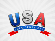 American Presidents Day celebration. Glossy text United State American with ribbon for Presidents Day celebration on shiny background Vector Illustration
