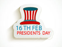 American Presidents Day celebration sticker with hat. Stock Photos
