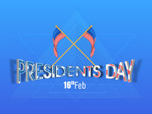 American Presidents Day celebration with text and Flags. Creative text Presidents Day with American Flags on stylish blue background vector illustration