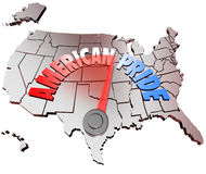 American Pride Country National Patriotism United States. The words American Pride on a map of the United States of America to represent growing patriotrism and Stock Photos