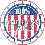 American Pride Distressed Stamp. A distressed decal like stamp or emblem which reads 100% Percent American Pride stock illustration