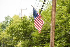 American Pride: Flag Ripped, Torn STILL Standing Stock Photo