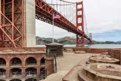American Pride Golden Gate Bridge. View from the roof tops of Fort Point. Look at that flag and Iconic structure, magnificent stock photos