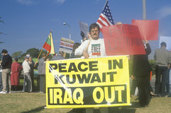 American protesting U.S. involvement in Kuwait,  Los Angeles, California Stock Image