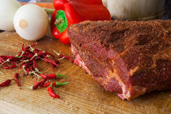 American pulled pork style. Preparing and seasoning meat for cook pulled pork Stock Photos