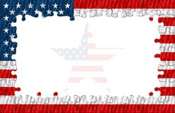 American Puzzle Frame Star. American Puzzle Frame with Star Inside / Hight Quality Royalty Free Stock Image