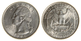 American Quarter from 1966. Both sides of an old (1966) US quarter, isolated on a white background stock photo