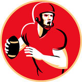 American Quarterback Football Player Passing Circle. Illustration of an american quarterback football player shouting  passing ball set inside circle done in Royalty Free Stock Photography