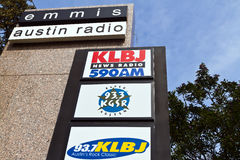 American radio stations. Characteristically American logos of radio stations in Austin, Texas.  Many radio stations outside the United States are strongly Royalty Free Stock Photography