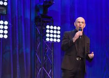 American Rapper Pitbull speaking on stage. Pitbull , or, Armando Christian Pérez Royalty Free Stock Photo
