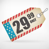 American Realistic paper price tag. From background. layered Stock Illustration