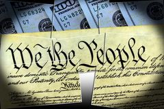 US Constitution with One Hundred Dollar Bills sitting above - United States Debt Ceiling Crisis Concept. The American Recovery and Reinvestment Act - Government Royalty Free Stock Photography