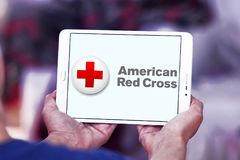 American Red Cross ARC logo. Logo of American Red Cross ARC on samsung tablet. The American Red Cross ARC is a humanitarian organization that provides emergency royalty free stock images