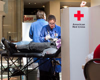 American Red Cross Blood Drive. GARDEN CITY, NY - APRIL 3, 2011:  In the wake of the devastation in Japan, American Red Cross blood drive for disaster relief in Stock Photo