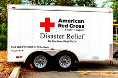 American Red Cross, Disaster relief text on the side of trailer