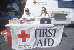 American Red Cross first aid station, Los Angeles, California Royalty Free Stock Images